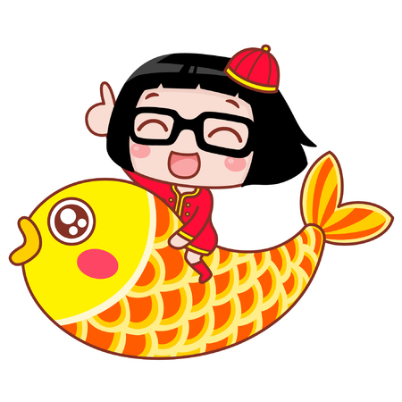 Cute cartoon girl riding a fish Çizim