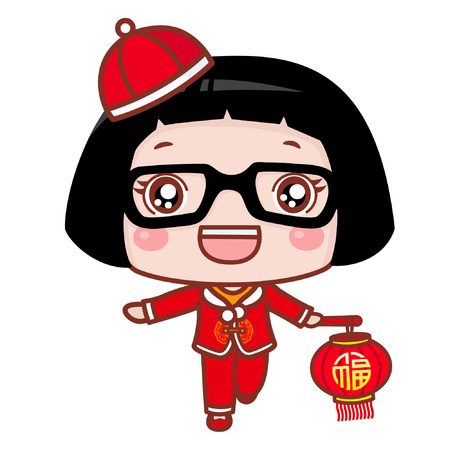 Cute cartoon girl in chinese costume