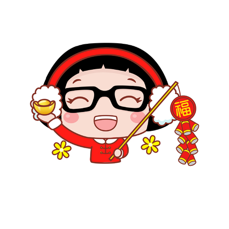 Cute cartoon girl with firecrackers