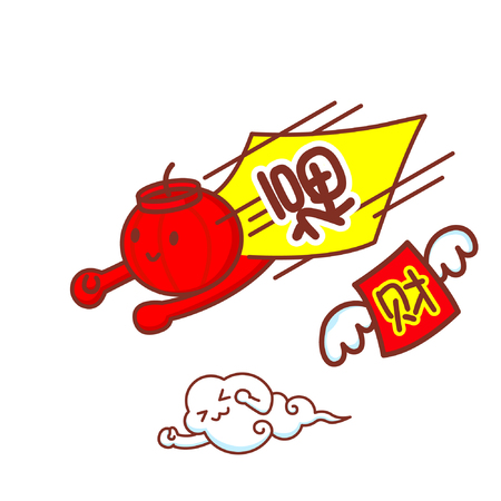 Cartoon chinese lantern character flying