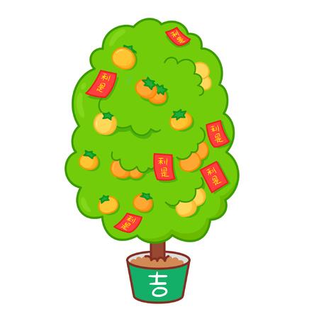 Cartoon plant with chinese new year decorations Ilustração