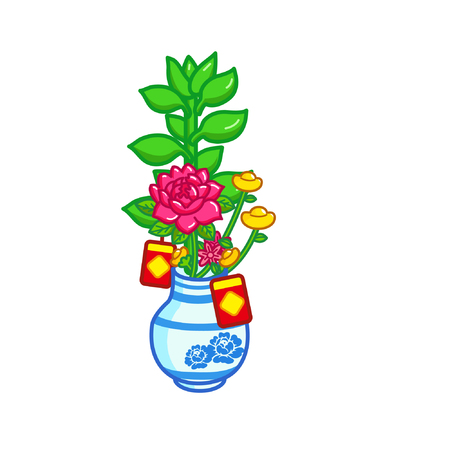 Cartoon bamboo with chinese new year decorations