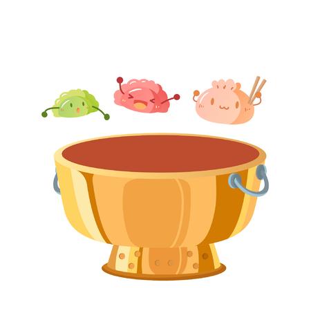 Cartoon dumpling characters above hotpot
