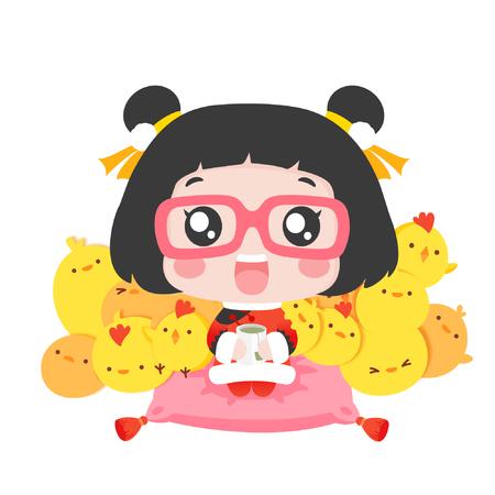 Cute cartoon girl with a teacup and chicks 일러스트