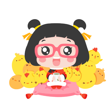 Cute cartoon girl with a teacup and chicks Vettoriali