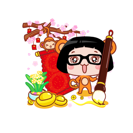Cute cartoon girl in monkey suit with banner and ingots 일러스트