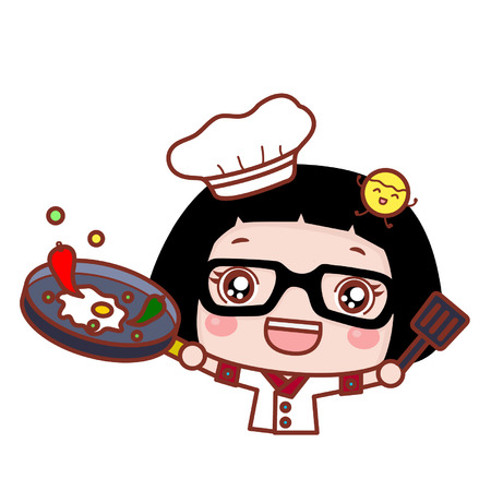 Cute cartoon girl as a cook