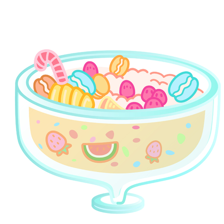A glass with various types of sweets Ilustração