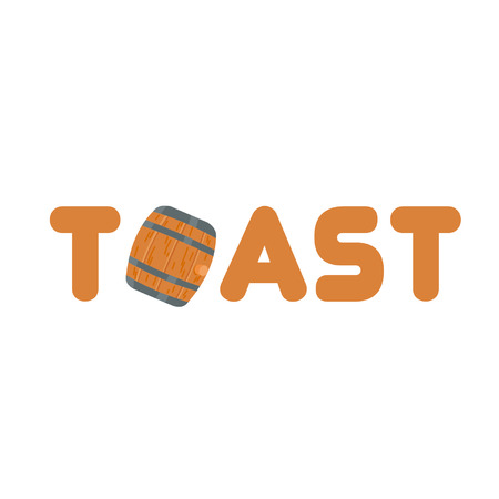 Toast word with a wine barrel