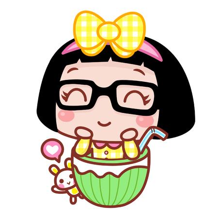 Happy cartoon girl in watermelon drink Ilustração