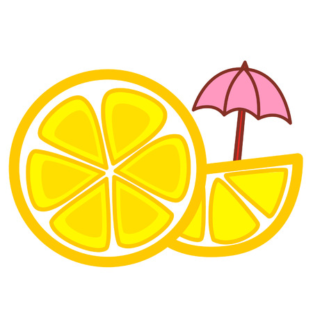 Cartoon lemon slices with an umbrella Çizim