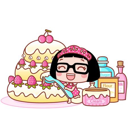 Cute cartoon girl making a cake Illustration