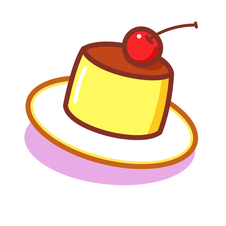 Cartoon pudding with a cherry Illustration