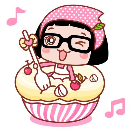 Cute cartoon girl on a cupcake Illustration
