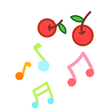 Colorful musical notes and cherries