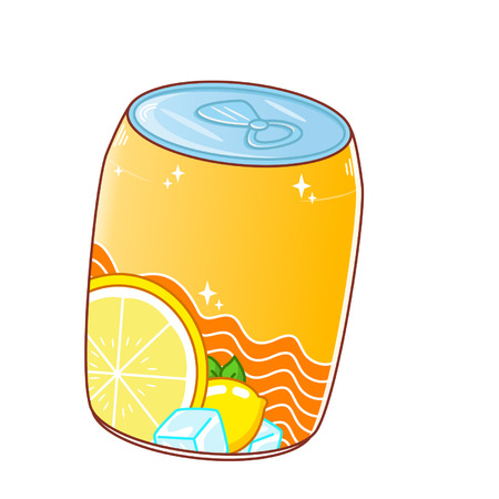 Cartoon canned fruit drink