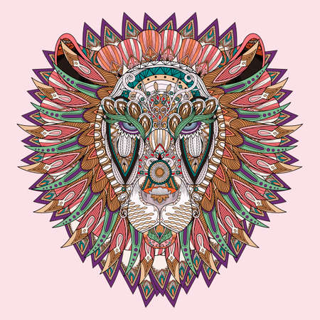 untangle: hand drawn lion coloring page in exquisite style