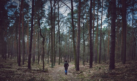 loner: a loner man walking in the forest
