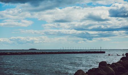 wind wheel: Wind wheel turbine in denmark at sea