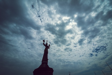 erotically: the Imperia statue in Constance before blue sky, lake constance germany
