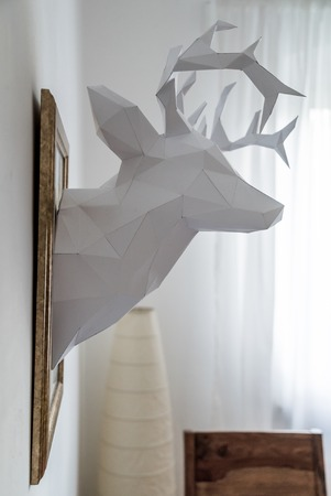 venison: origami paper model of white venison vault sculpture