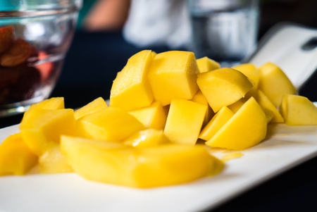 favorite colour: Yellow mango selective focus, macro closeup thai fruit favorite