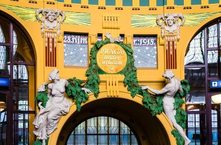 praga: PRAGUE, CZECH REPUBLIC Praga Mater Urbium Mother of Cities Latin former art nouveau in the historical building of Prague railway station Czech Republic Stock Photo