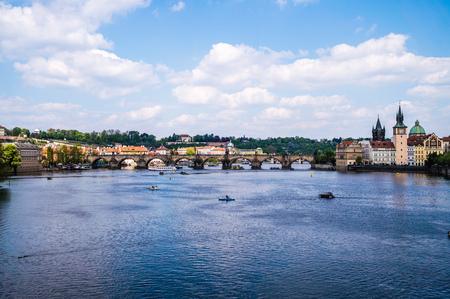 praha: Prague panorama city skyline bridge and rive Czech Republic