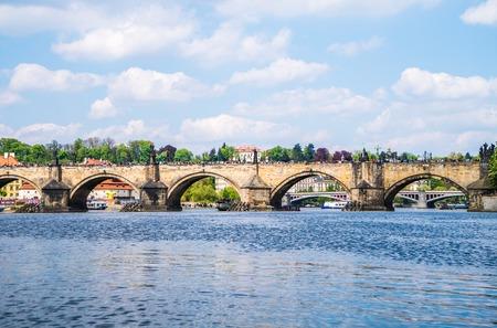 rive: Prague panorama city skyline bridge and rive Czech Republic