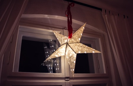 fixtures: star Air fixtures made of a paper parchment-celebratory ornament christmas advent decor at living room