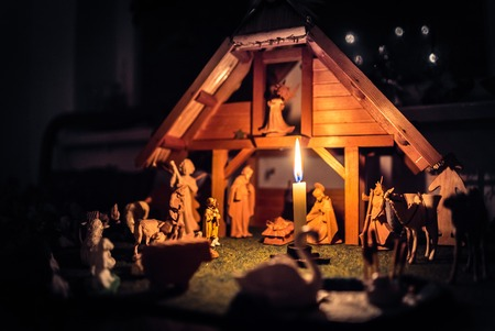 the magi: Christmas Manger scene with figurines including Jesus, Mary, Joseph, sheep and magi