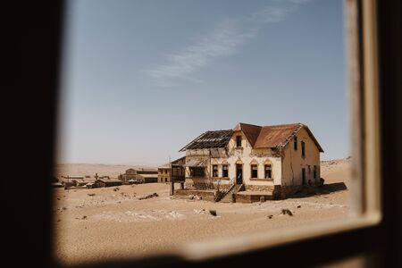 wideangle view of ghost town of Kolmanskop Luderitz in Namibia