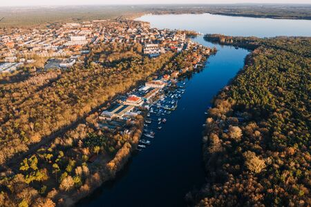 panorama drone photo of the Muggelsee Berlin at sunrise Reklamní fotografie