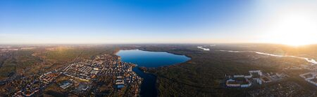 aerial drone wideangle panorama photo of Mueggelsee Berlin