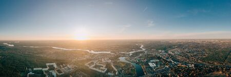 wideangle aerial sunset drone photo of the old city Kopenick Berlin, Germany where the rivers Dahme and Spree connect