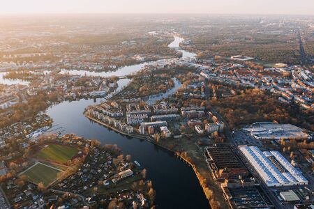 panorama drone photo of the old city Treptow-Kopenick Berlin at sunrise