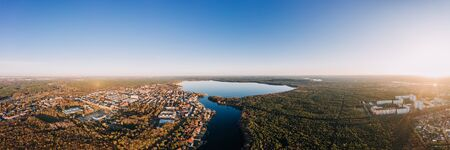 panorama drone photo of the Muggelsee Berlin Friedrichshagen at sunrise Reklamní fotografie