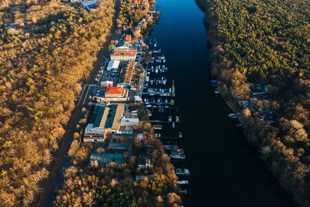 drone photo of the moorings stop at harbor Muggelsee Berlin Friedrichshagen Reklamní fotografie