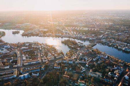 panorama drone photo of the old city Kopenick Berlin at sunrise