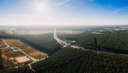 drone photo of the forest of Gruenheide, Berlin Brandenburg