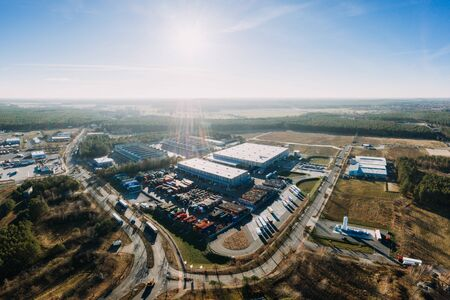 drone photo of the industrial area of Gruenheide, Berlin Brandenburg