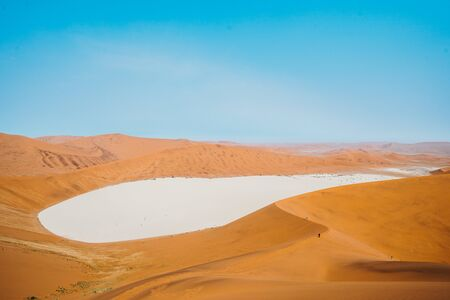 wideangle panoramic drone shot of Sossusvlei, Dead Vlei