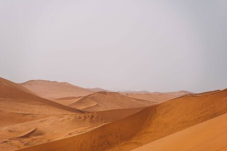 Stunning wide angle photo of a beautiful red sand desert dunes Foto de archivo - 140904732
