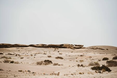 Moon Valley or Valle De La Luna canyon with eroded sandstone spikes panorama Stock Photo
