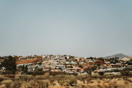 distant wideangle view of Windhoek, capital of Namibia