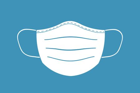illustration of mouth protection face mask with blue background