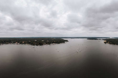 aerial of the Wannsee in Berlin with sailing boats Zdjęcie Seryjne