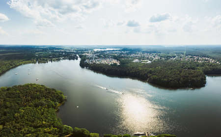 aerial photo of the Flakensee at Woltersdorf and Erkner in Brandenburg
