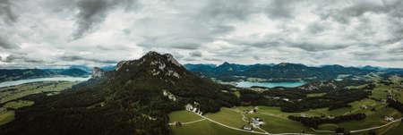 drone photo on lake Mondsee at Upper Austria, Oberosterreich