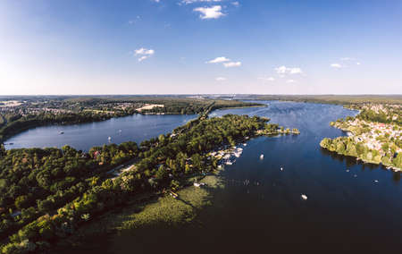 aerial view of Caputh and lake Schwielow, Berlin Brandenburg Zdjęcie Seryjne
